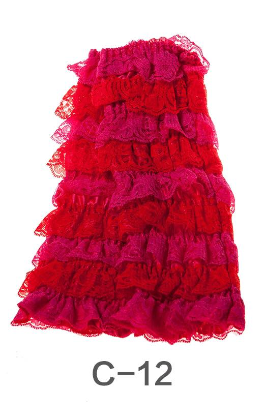 C-12 Toddler Girl's Red and Pink Ruffle Lace Leg Warmers