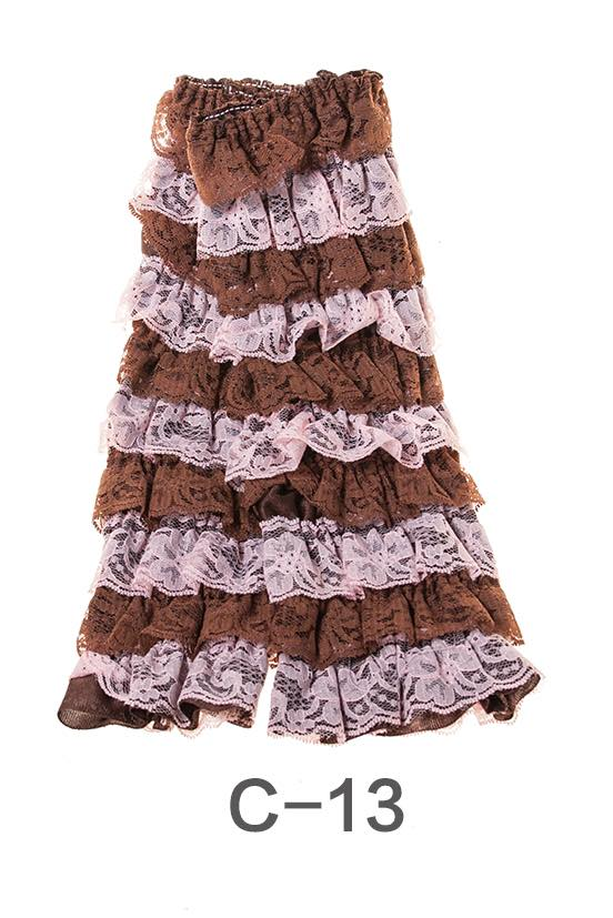 C-13 Toddler Girl's Brown and Pink Ruffle Lace Leg Warmers