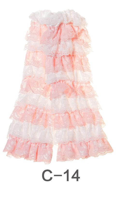 C-14 Toddler Girl's White and Pink Ruffle Lace Leg Warmers