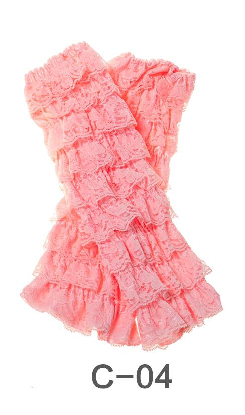 C-04 Toddler Girl's Light Pink Ruffle Lace Leg Warmers