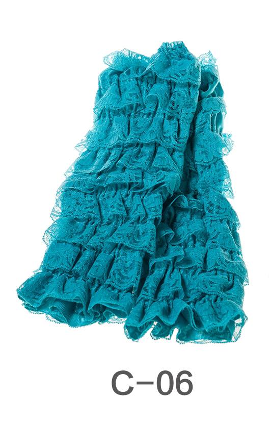 C-06 Toddler Girl's Turquoise Ruffle Lace Leg Warmers