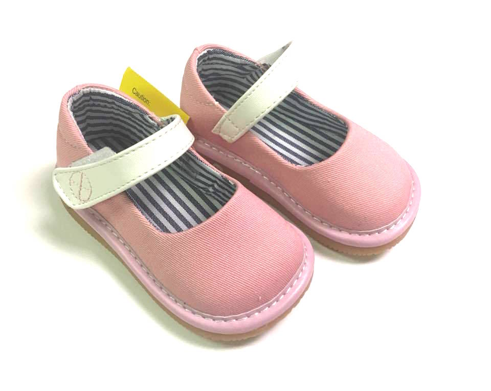 Toddler Girl's Casual Canvas Light Pink Mary Jane Squeaky Shoes