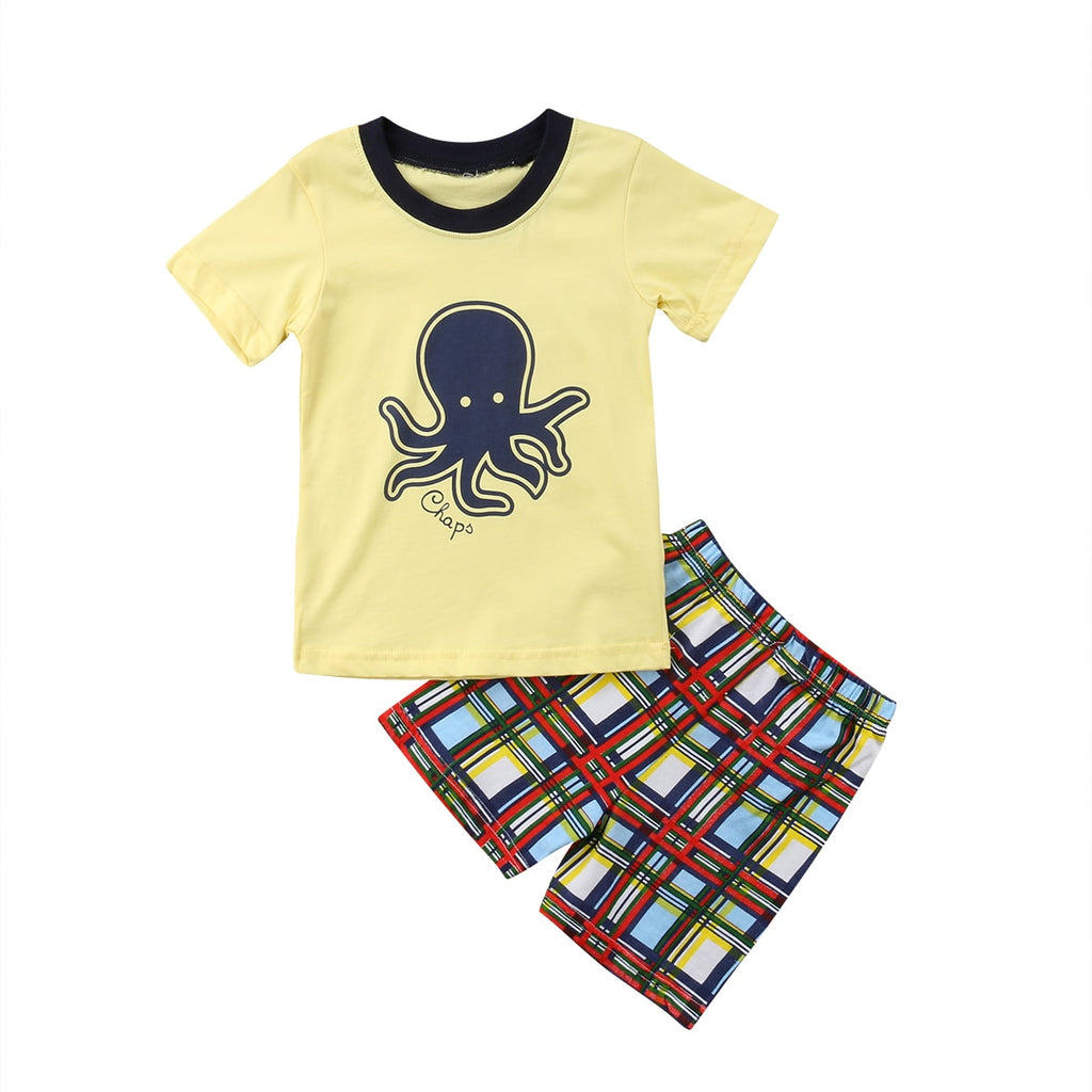 S-1647 Boy's Outfit with Octopus  Size 2T-7