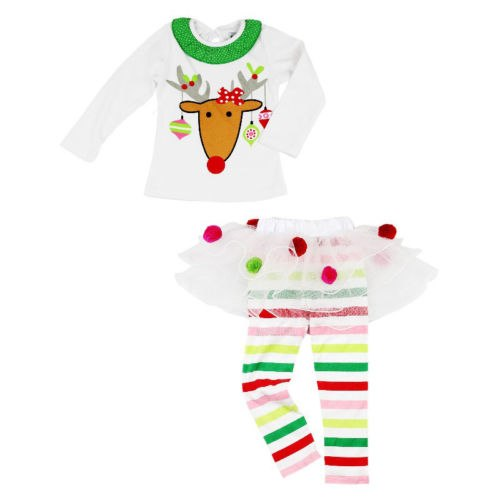 S-251 Christmas Girl's Reindeer 2PCS Set Size 18M-5T