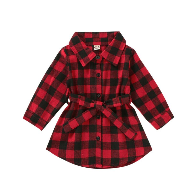 S-1961 Girl's Buffalo Plaid Top Size 18M-5T