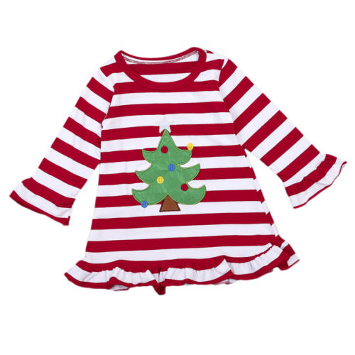 S-1093 Christmas Tree  Long Sleeve Top/Dress Size 2T-6T