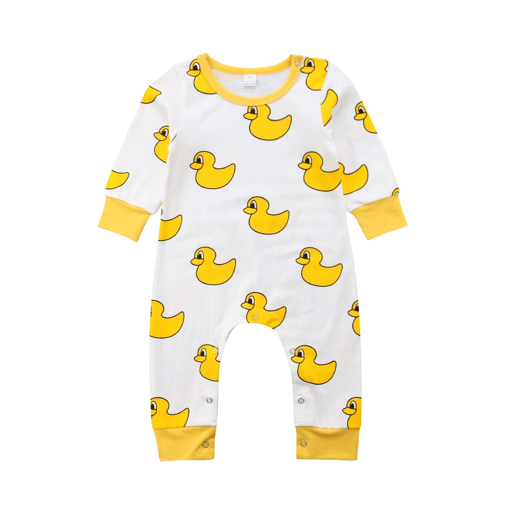 S-952 Boy Girl Yellow Duck Long Sleeve Romper Size 6M-24M