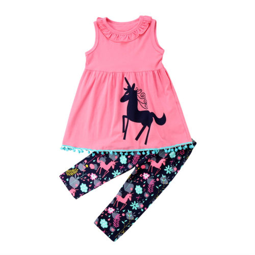 S-1848 Girl's Unicorn 2 PCS Set Size 3T-7T