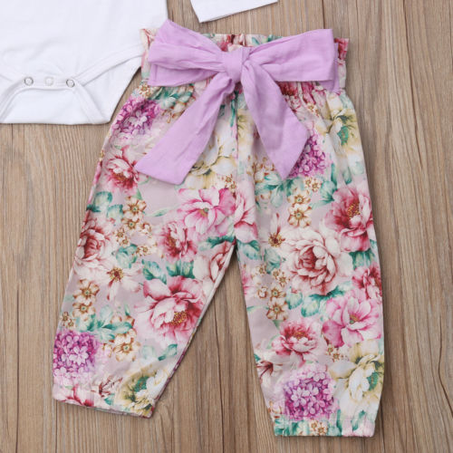 S-974 Easter Girl's 3 PCS outfit with Bunny and Flower Prints Size 3M-18M