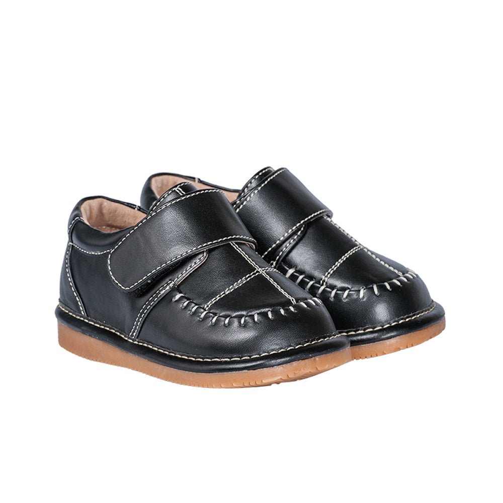 Toddler Boy's  Leather Black Dress Style Squeaky Shoes