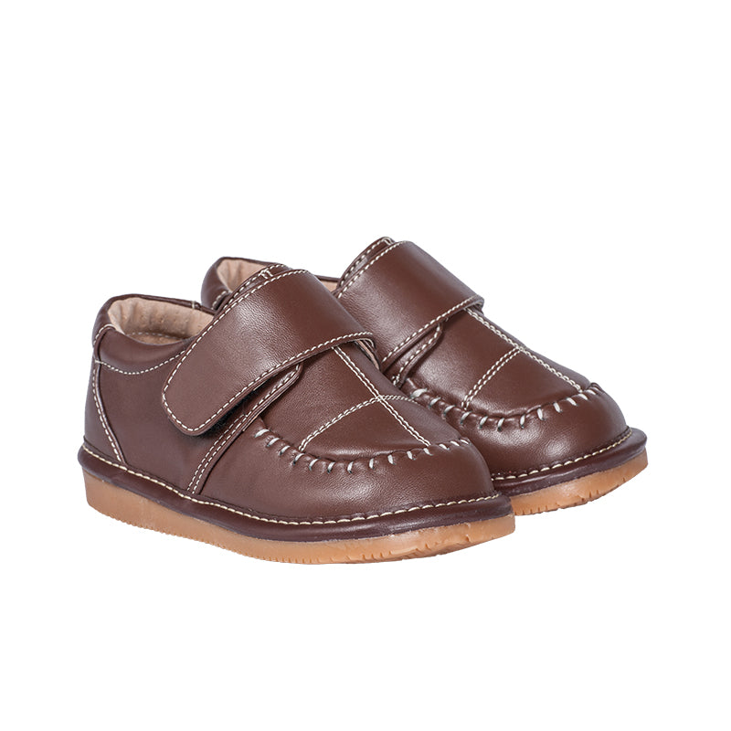 Toddler Boy's  Leather Brown Dress Style Squeaky Shoes