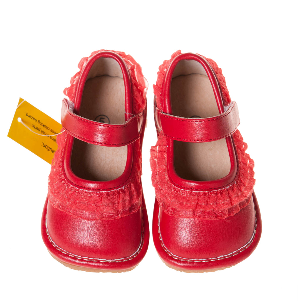 Leather Toddler Girl's Red Ruffle Mary Jane Squeaky Shoes