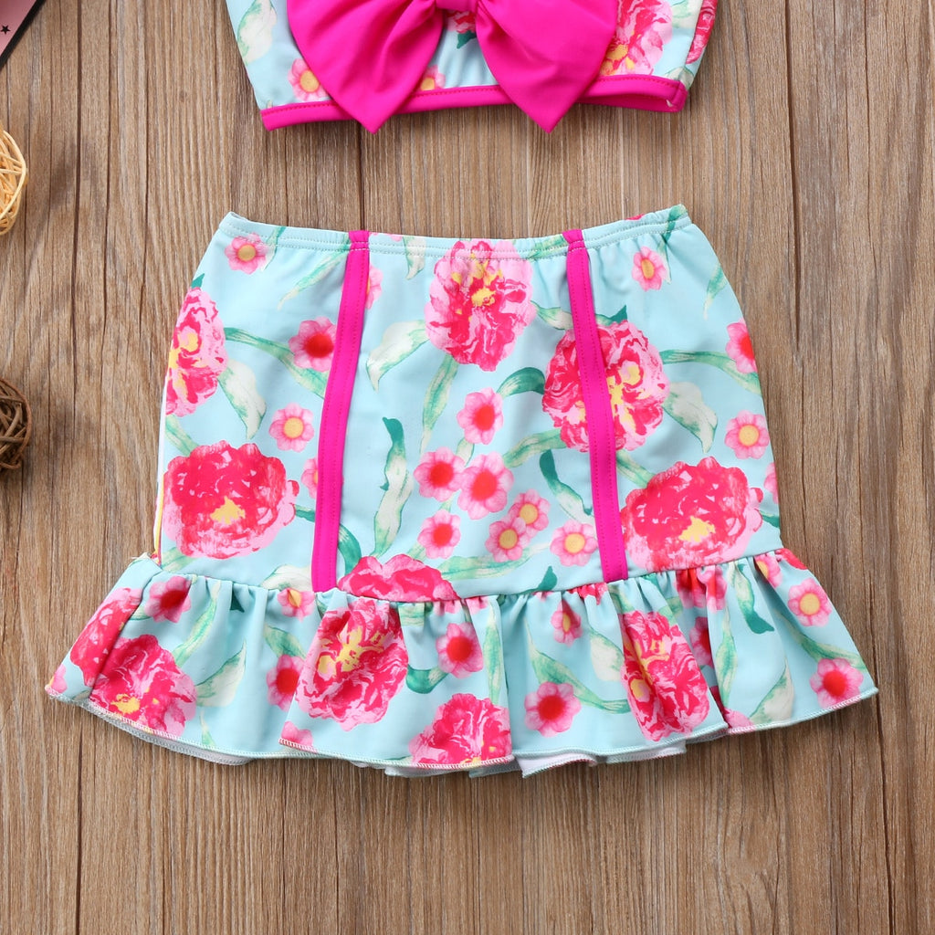 S-1297 Girl's 3PCS Swimwear Size 12M-7T