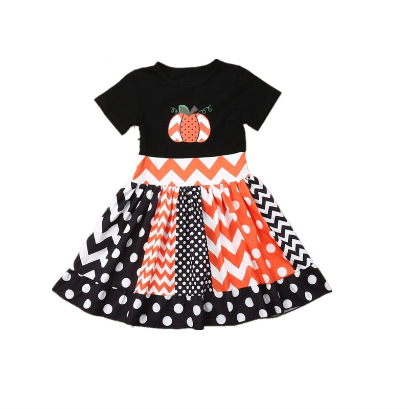 S-1895 Girl's Halloween Pumpkin Short Sleeve Dress Size 12M-4T