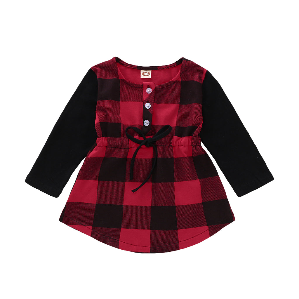 S-2069 Girl's Buffalo Plaid Christmas Top Size 12M-4T