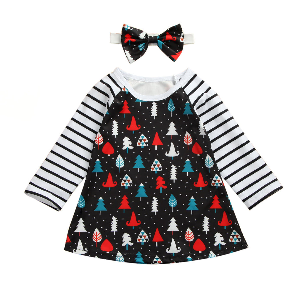 S-2070 Girl's Christmas Dress with Hairbow Size 12M-4T