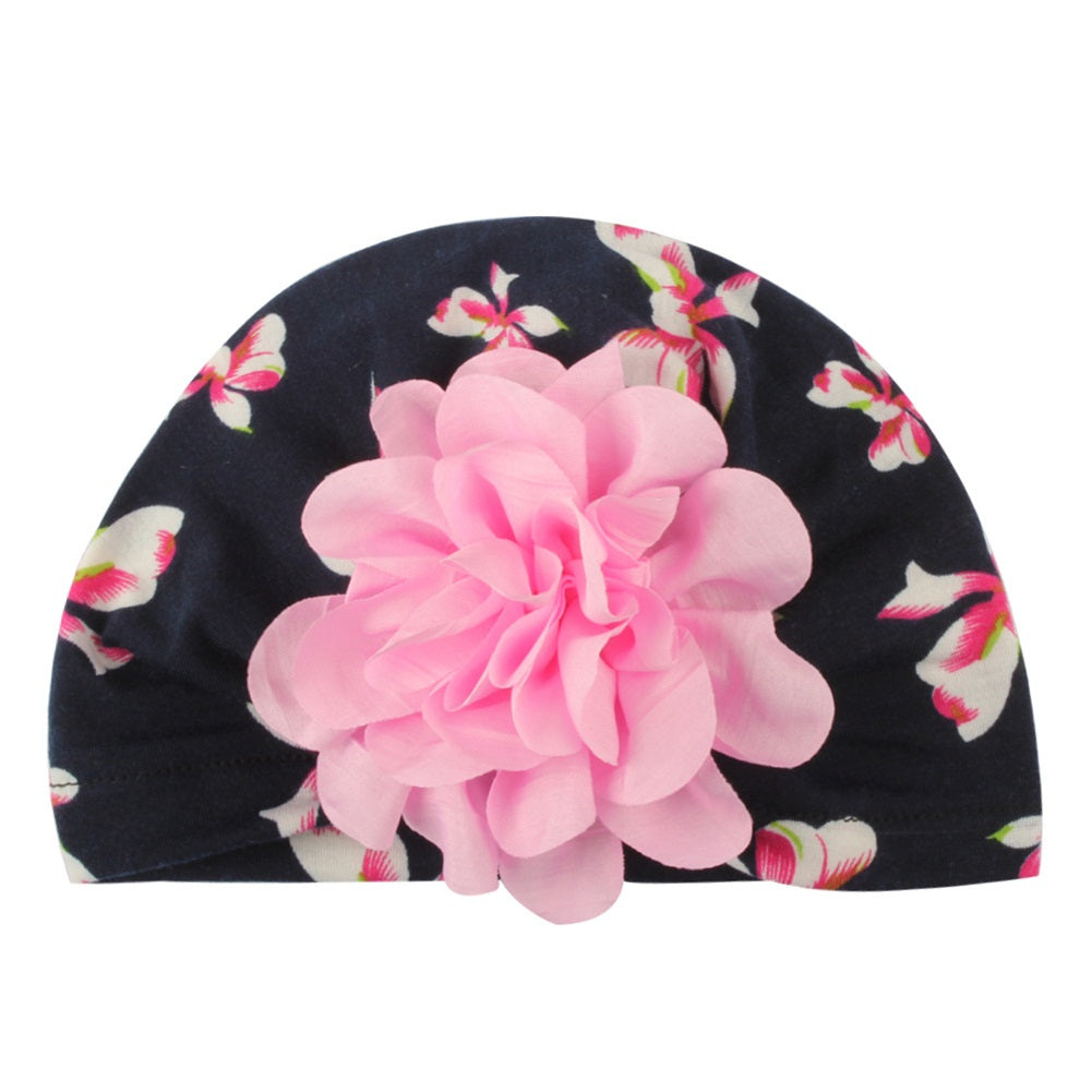 SH-034 1PC Newborn Baby  Flower Cotton Beanie