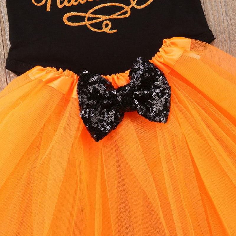 S-303 Newborn Baby Girl Halloween Romper Tulle Tutu Skirt 2pc Outfit Size 6M-18 Months