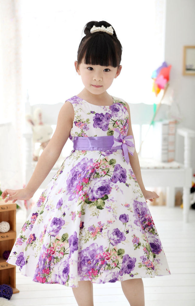 S-234 Girl's Sleeveless with Bow Dress Size 2T-10Y