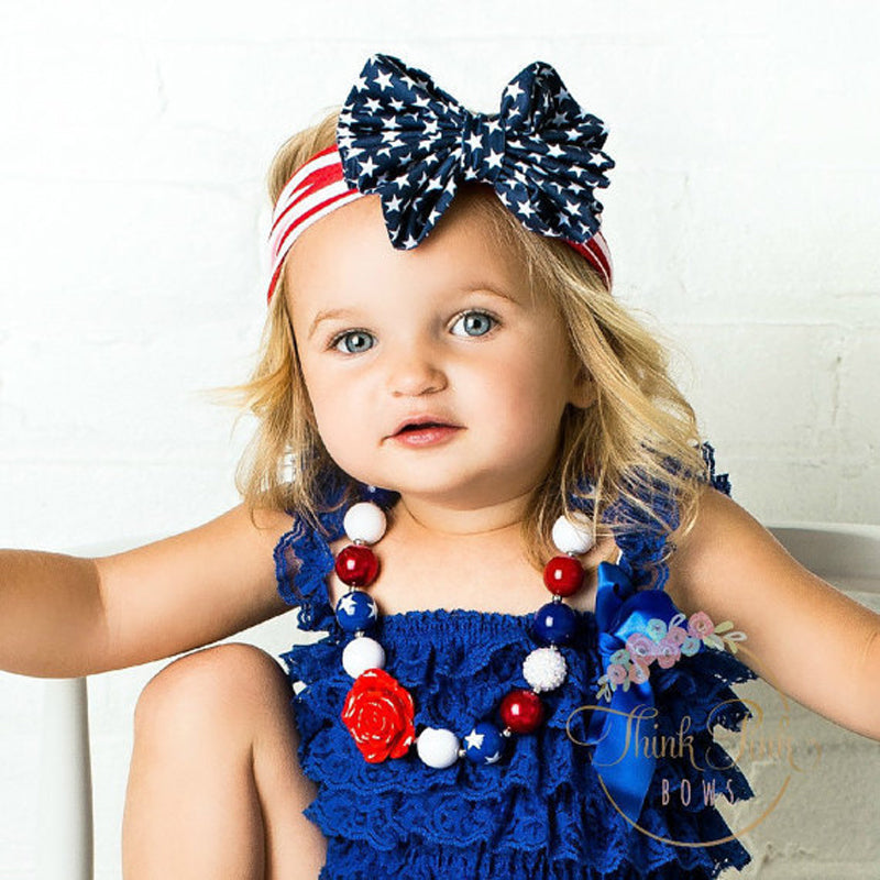 SH-009 Baby Big Hair Bow Headband Red White Blue