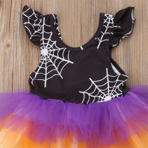 S-308 Sleeveless Toddler Girls Halloween Ruffle Tulle Princess Dress Sizes 2-6T