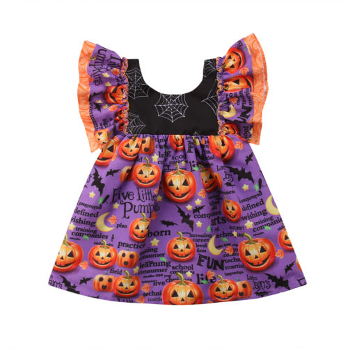 S-510 Halloween Girl's Pumpkin Dress Size 2T-6T