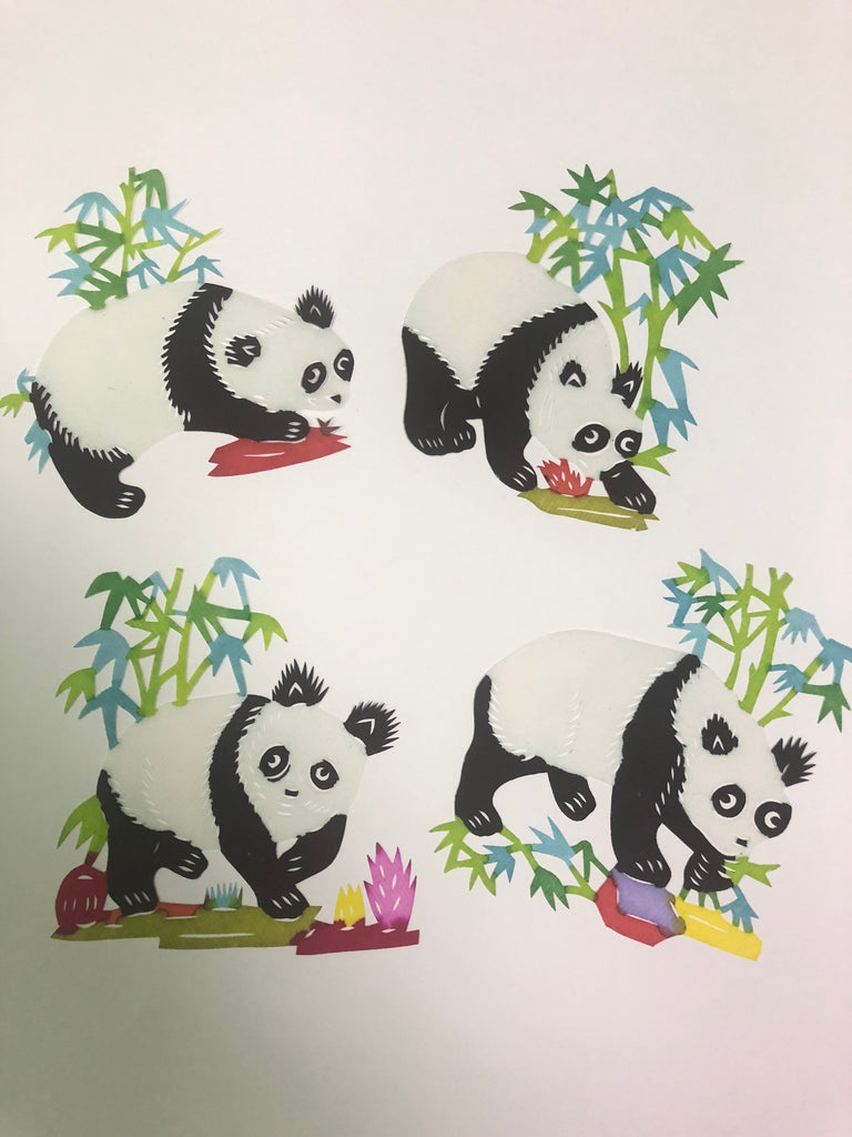 Cute Panda Chinese Papercutting Great for Scrapbooking Hand Cut Painted