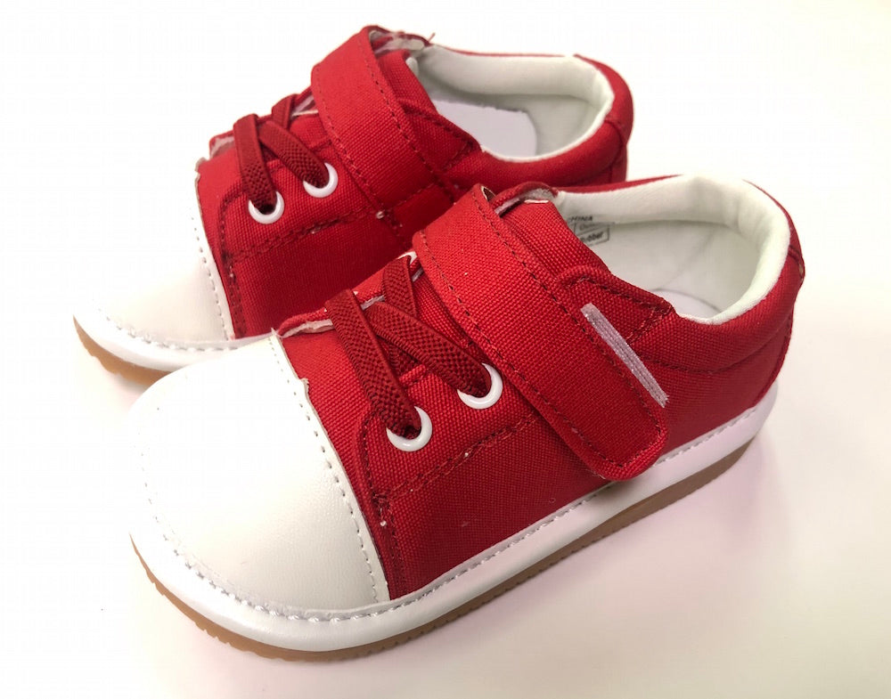 Toddler Boy's and Girl's Casual Canvas Red Tennis Squeaky Shoes