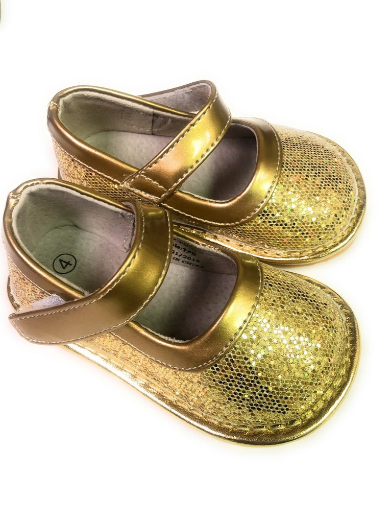 LP401G New! Gold Sparkle Leather Toddler Girl's Mary Jane Squeaky Shoes Size 3-10