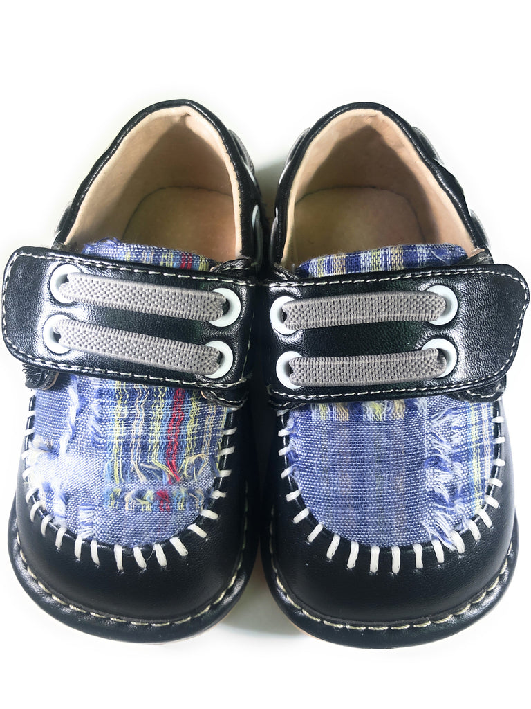 Toddler Boy's  Leather Black Plaid Style Squeaky Shoes