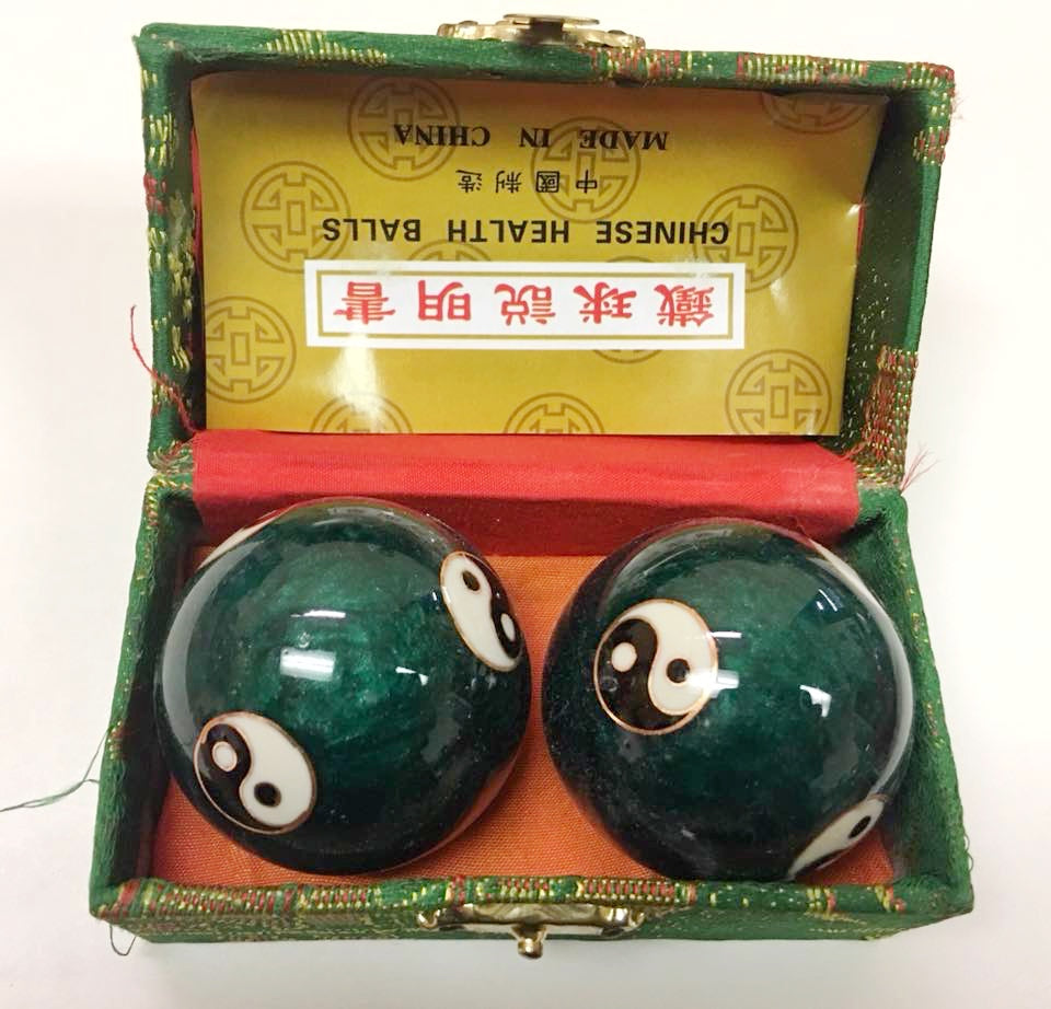 "1.7"" Chinese Yin and Yang Exercise Massage Metal Balls that Chime"
