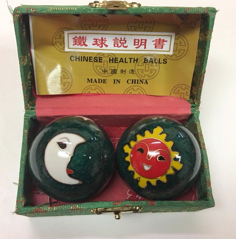 "1.7"" Chinese Moon and Sun Exercise Massage Metal Balls that Chime"