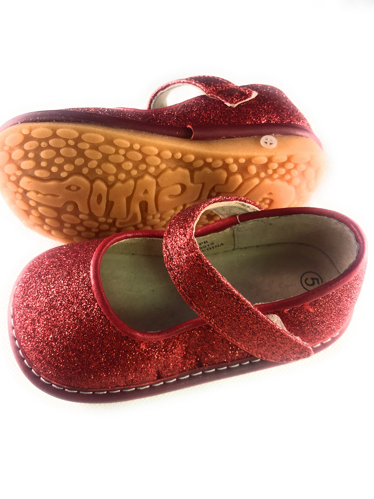 LP401R New! Red Sparkle Leather Toddler Girl's Mary Jane Squeaky Shoes Size 3-10