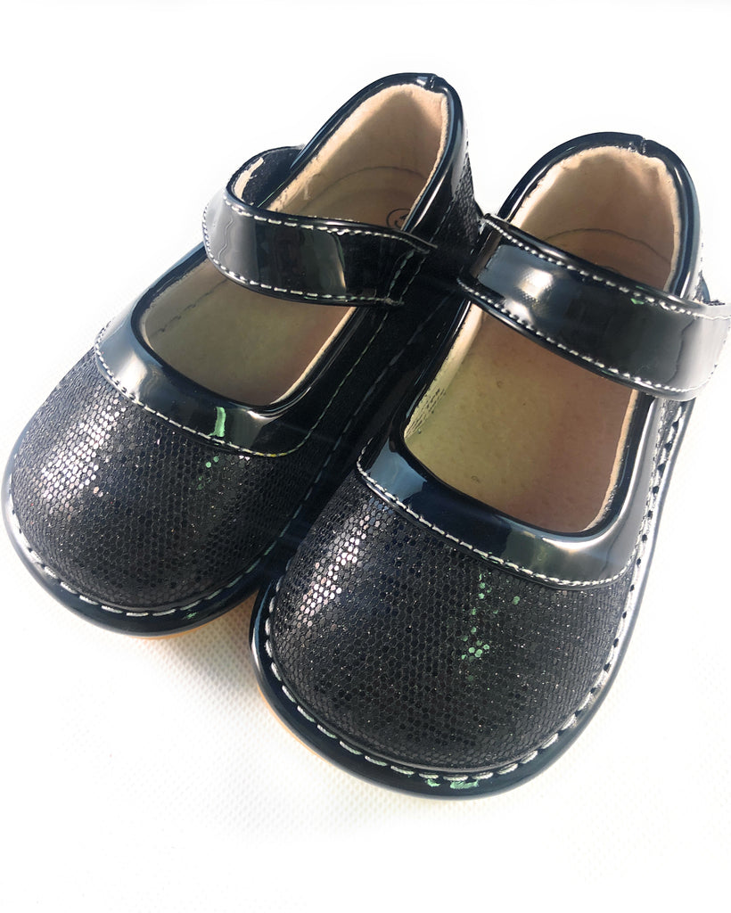 LP401B Sparkle Black Leather Toddler Girl's Mary Jane Squeaky Shoes Size 3-10