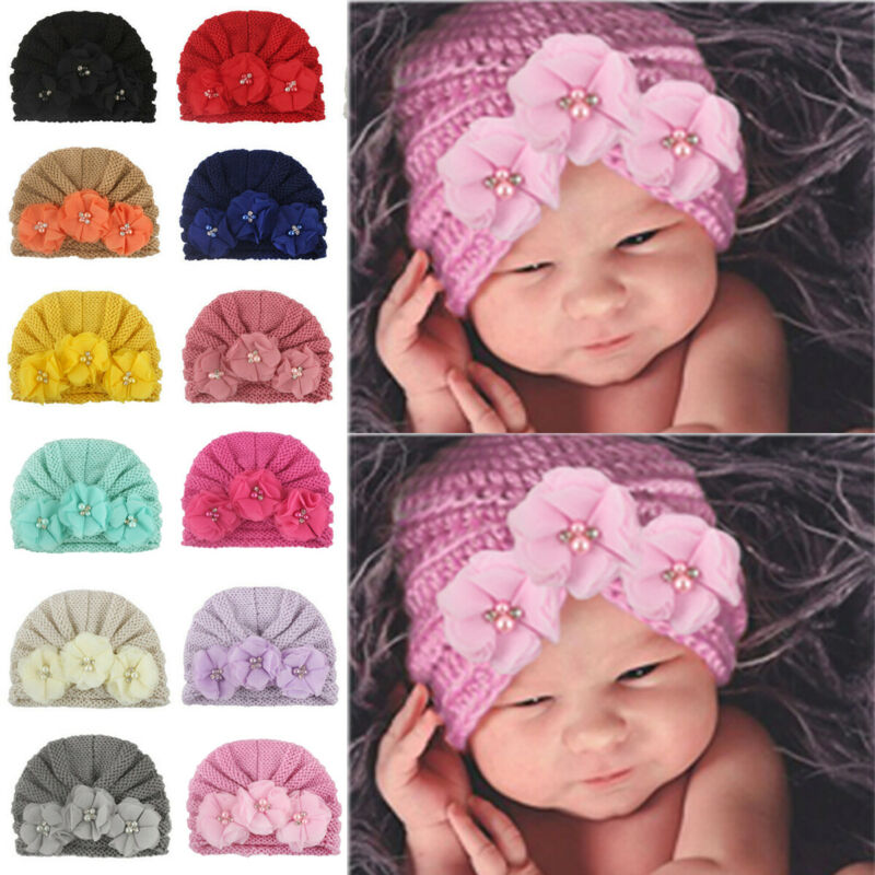 SH-095 Baby Girl's Knitted Beanie Cap with Flower