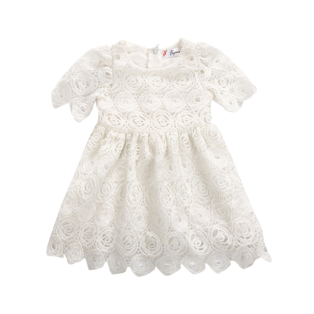 S-1967 Baby Girl's White Lace Dress Size 6M-24M