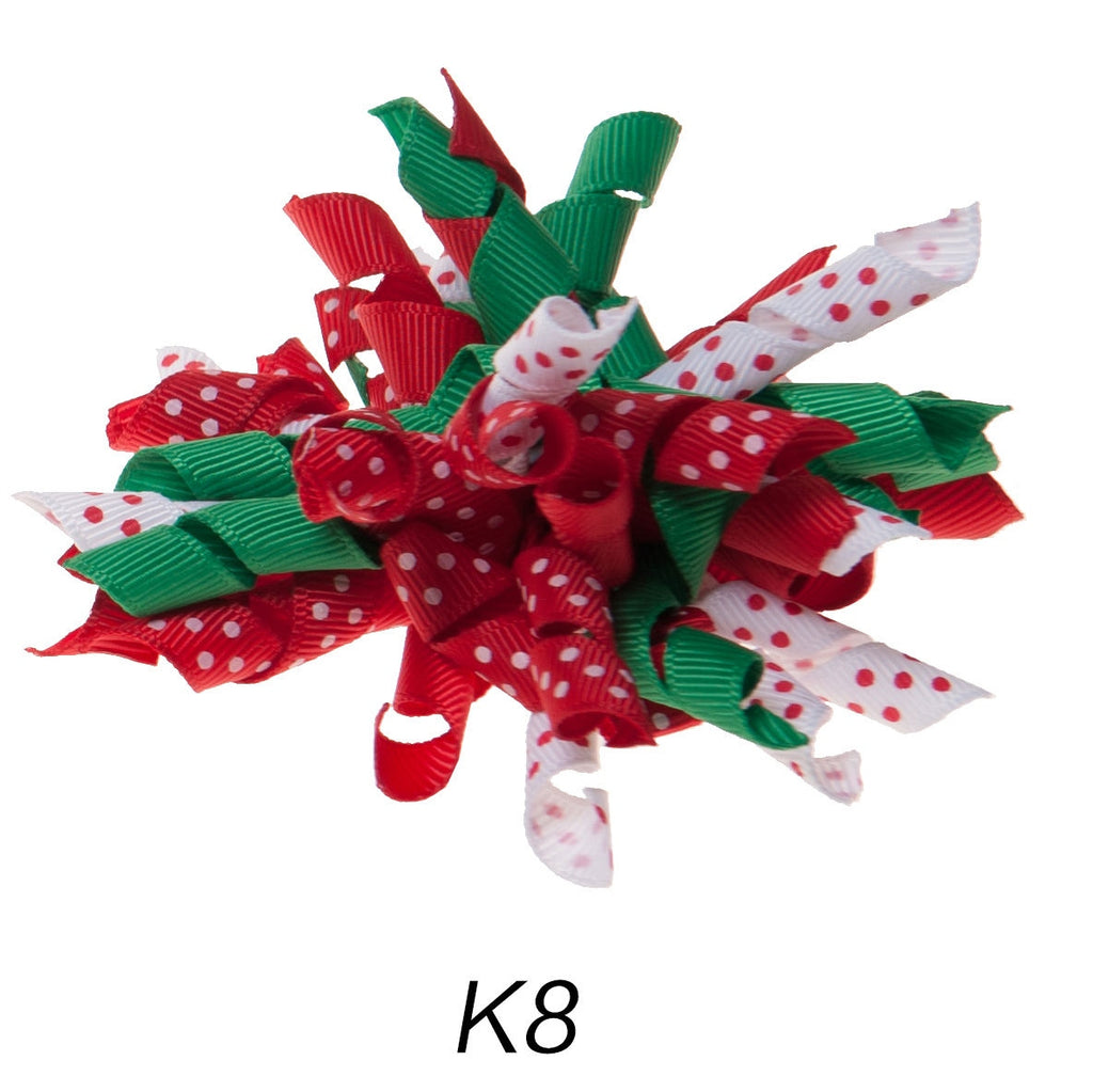 Korker #8 Christmas Polka Dot Clip on Hair/Shoe Bow (Sold Individually)