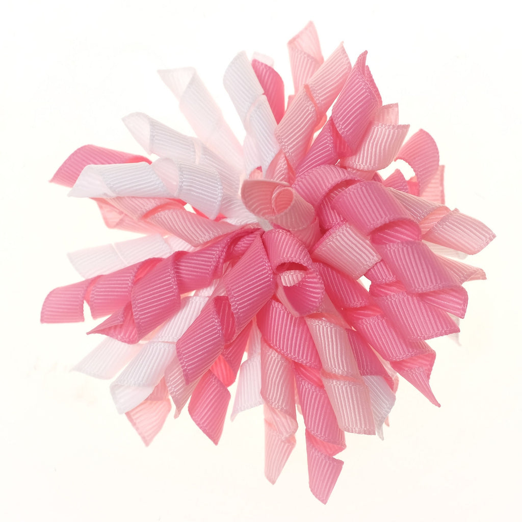 Korker Pink and White Clip on Hair/Shoe Bow (Sold Individually)