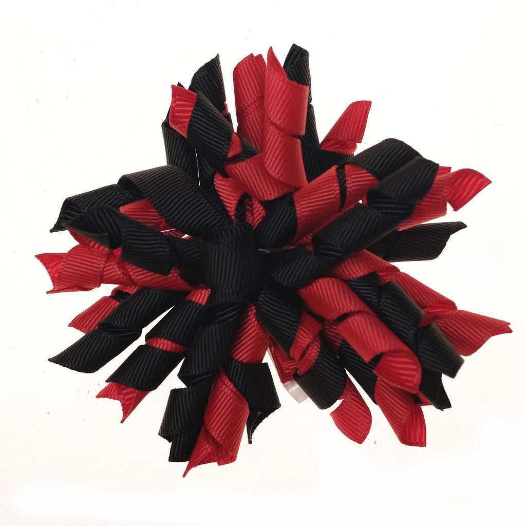 Korker Red and Black Clip on Hair/Shoe Bow (Sold Individually)