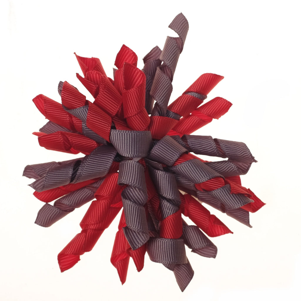 Korker Red and Grey Clip on Hair/Shoe Bow (Sold Individually)