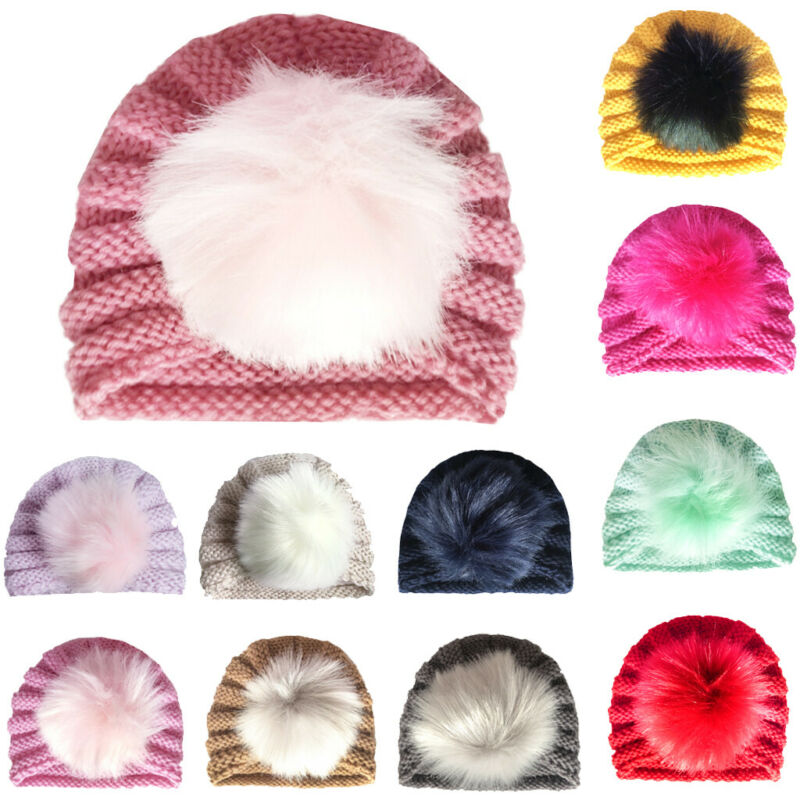 SH-096 Baby Girl's Beanie Cap with Fur Pom Pom
