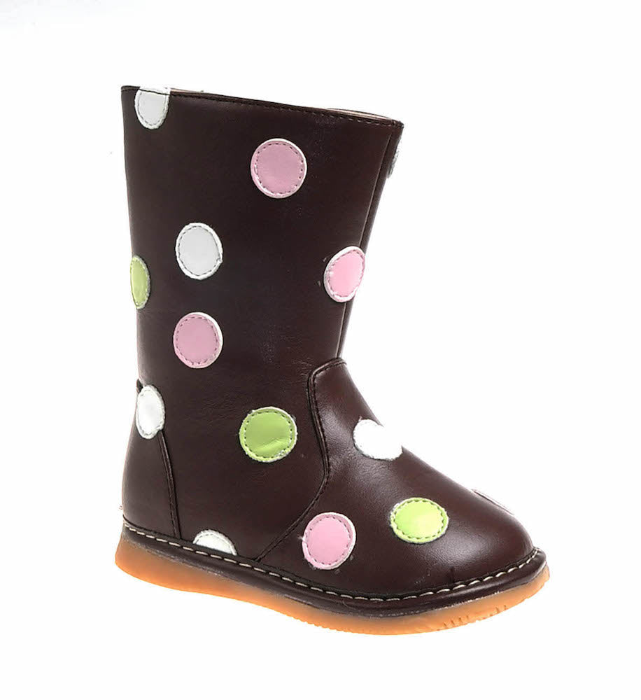 Discontinued Toddler Girl's Brown Multi-Colored  Squeaky Boots