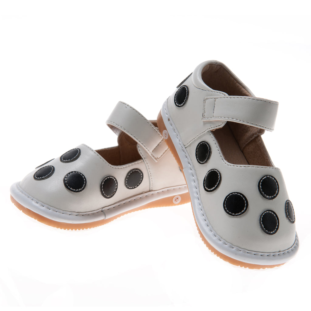 Size 1 only! Discontinued Leather Toddler Girl's White with Black Dots Squeaky Shoes