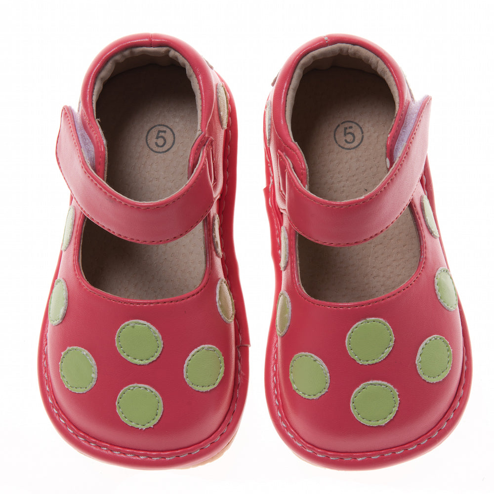 Discontinued Leather Toddler Girl's Coral with Lime Green Dots Mary Jane Squeaky Shoes