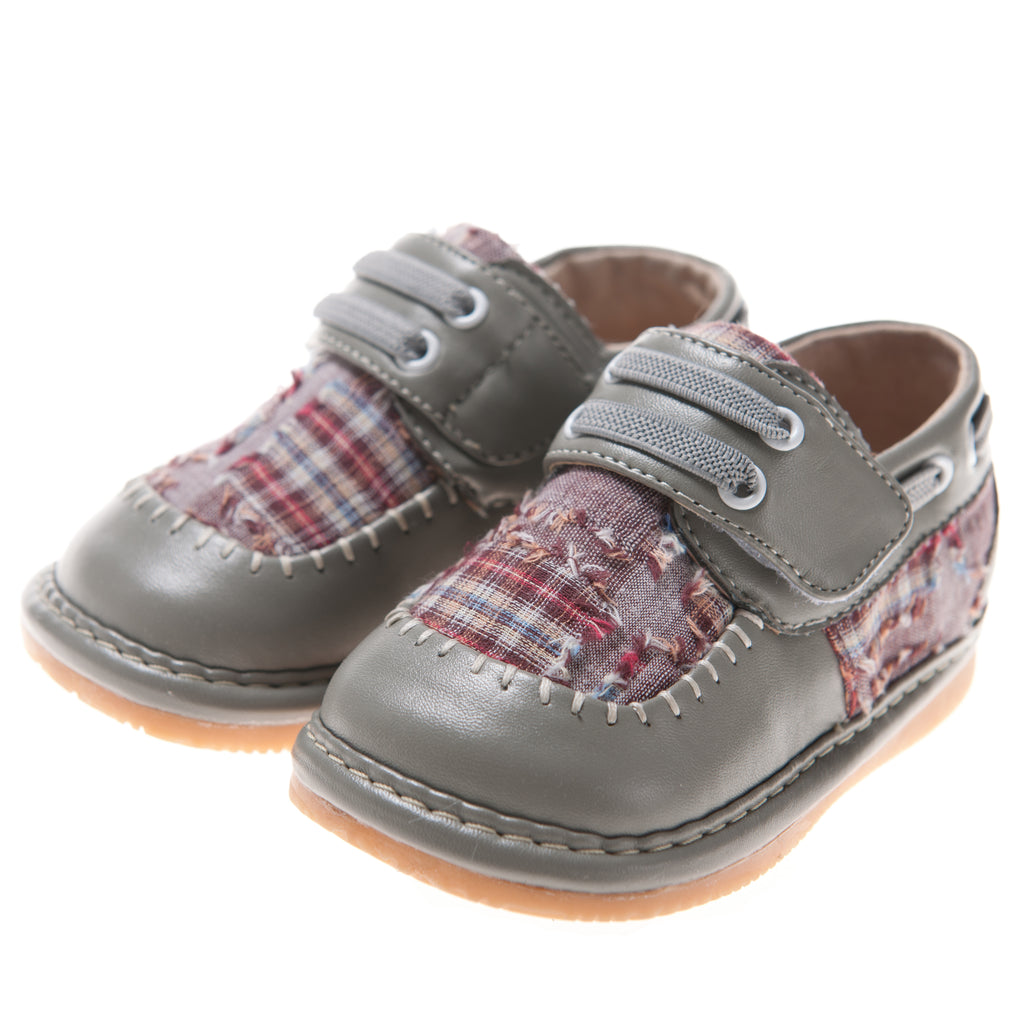 Discontinued Color. Size 1 only! Toddler Boy's  Leather Grey Plaid Style Squeaky Shoes