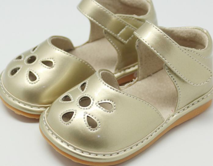 LP201G New! Petal Gold Leather Toddler Squeaky Shoes Size 3-10