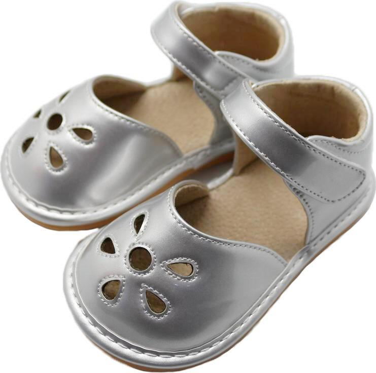 LP201S New! Petal Silver Leather Toddler Squeaky Shoes Size 3-10