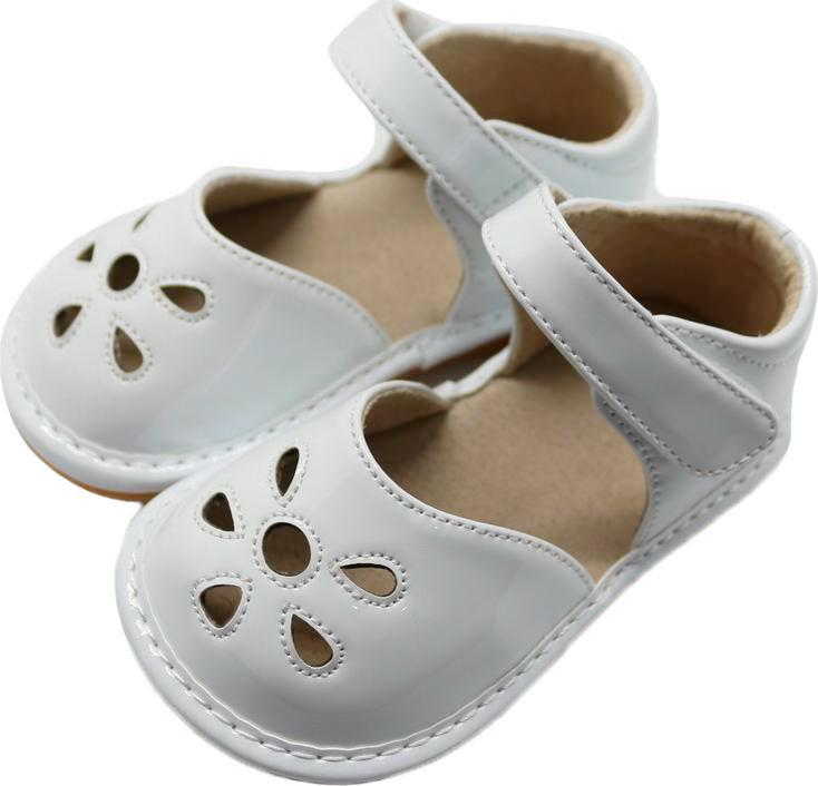 LP201W New! Petal White Leather Toddler Squeaky Shoes Size 3-10