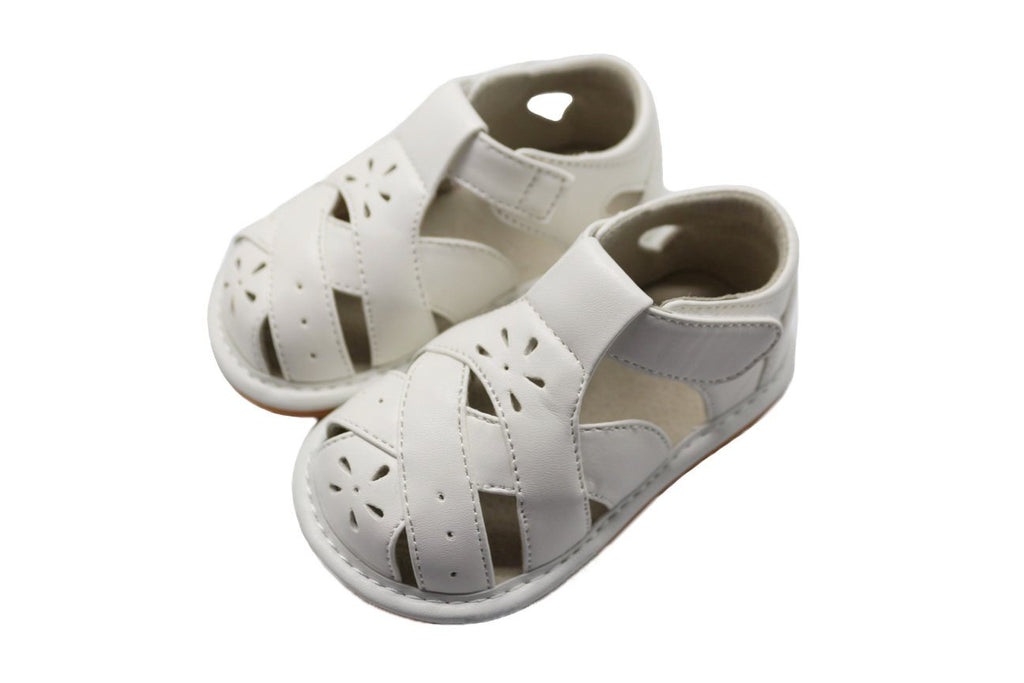 LP901W New! Close Toe White Leather Toddler Girl's Squeaky Sandals Size 3-7