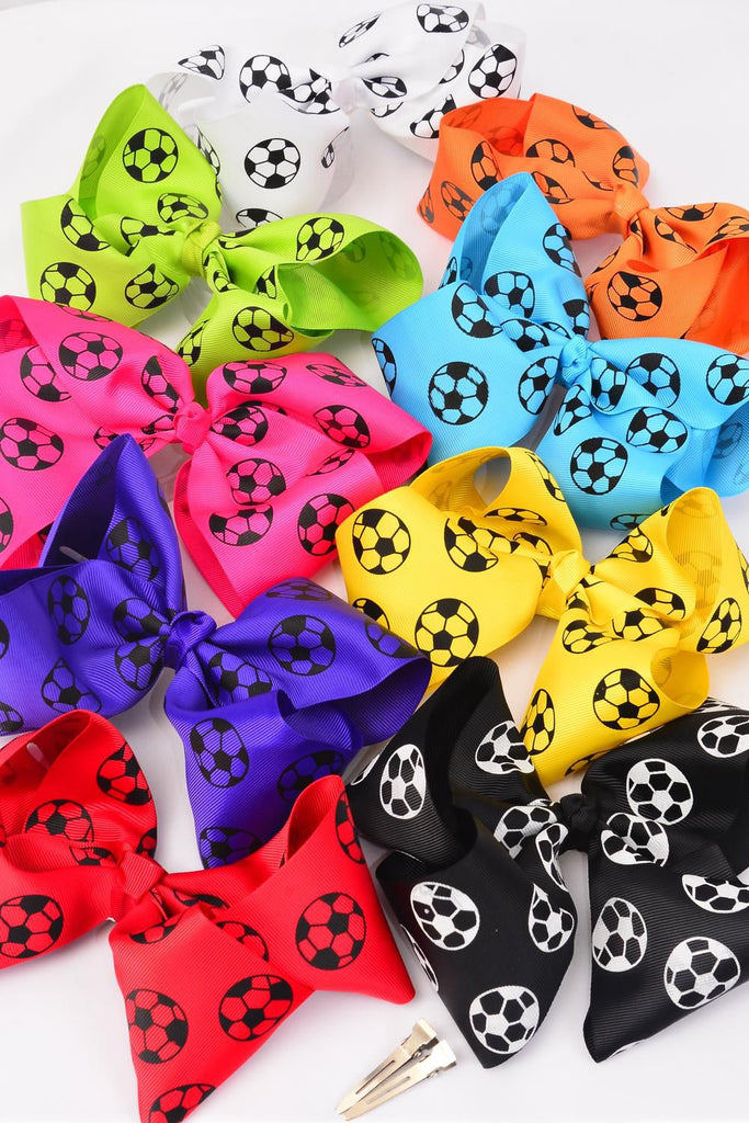 "MS-0018 Big Cheer Bow Soccer Ball  Alligator Clip Grosgrain Size-8""x 7"""